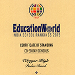 Education World Certificate of standing Vibgyor High School